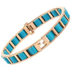"FENDI S/S 2011 ""Fendista"" Teal Blue Woven Nappa Leather Gold Bangle Bracelet"