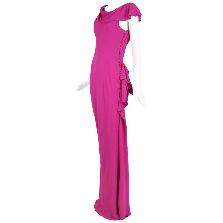 Christian Dior by John Galliano Bias-Cut Pink Crepe Evening Gown For Sale