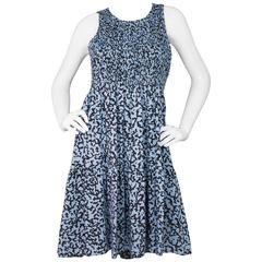 Proenza Schouler Blue Floral Print Silk Dress sz US4
