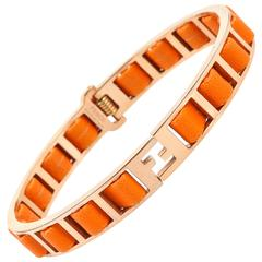 "FENDI S/S 2011 ""Fendista"" Orange Woven Nappa Leather Gold Bangle Bracelet"