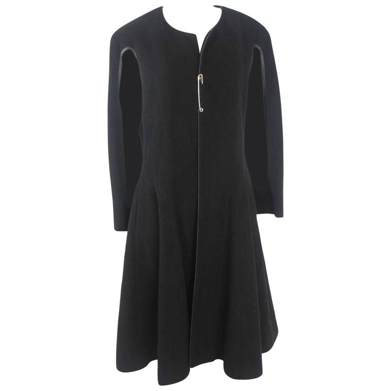 Comme des garcons 1988 Collection Leather Trim Frock Cape-Coat