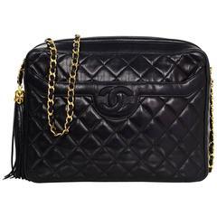 Chanel Vintage Black Quilted Lambskin Camera Crosdbody Bag w/ Tassel