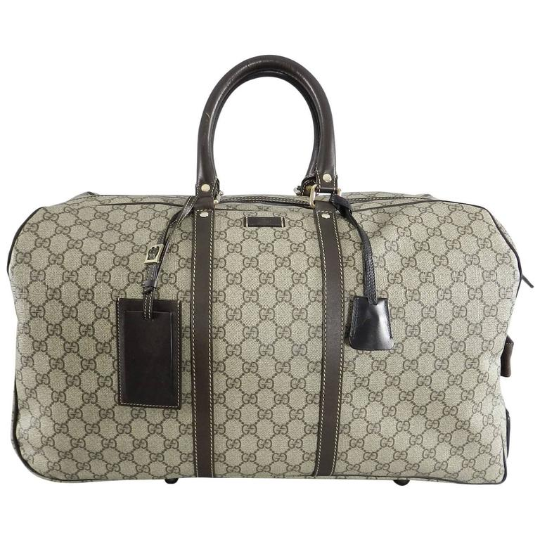 db43098871d5 Gucci GG monogram Brown Canvas Duffle Rolling Luggage Carry on Travel Bag  For Sale