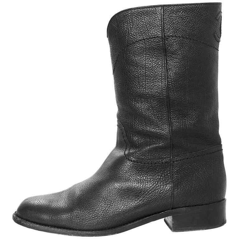 Chanel Black Leather Short Ascot Boots sz 42 For Sale