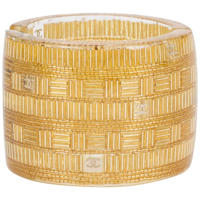Chanel Clear & Gold Lucite Cuff Bracelet For Sale