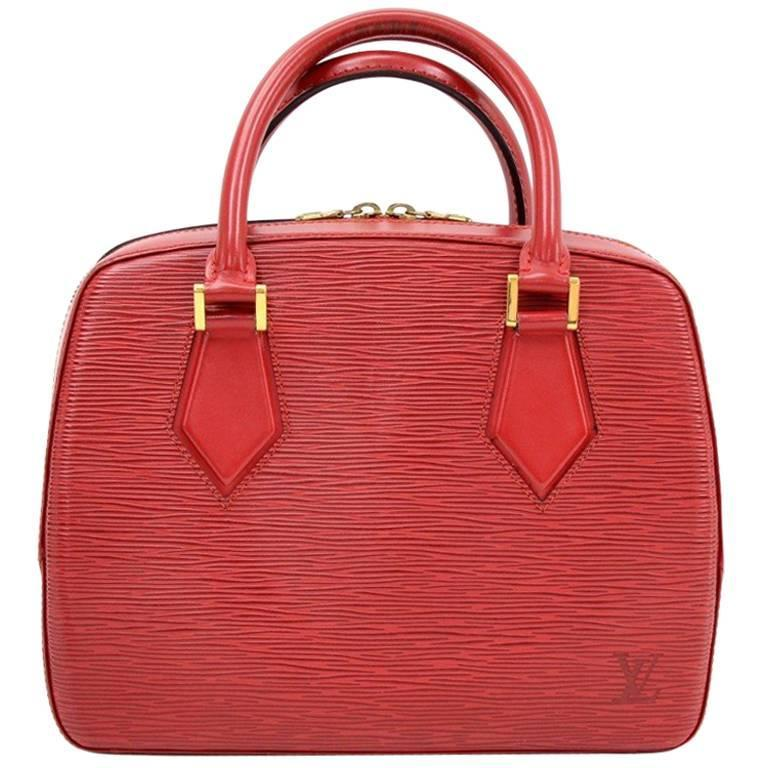 Louis Vuitton Sablon Red Epi Leather Hand Bag