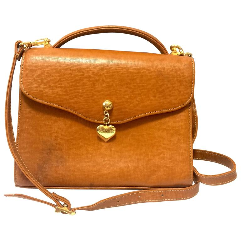 Vintage MOSCHINO orange brown grained leather kelly shoulder bag with heart moti