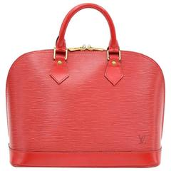 Louis Vuitton Alma Red Epi Leather Hand Bag