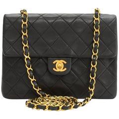 "Chanel 8"" Flap Black Quilted Leather Shoulder Mini Bag"