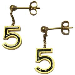Chanel '5' Ear Studs in Gilt Metal and Black Resin