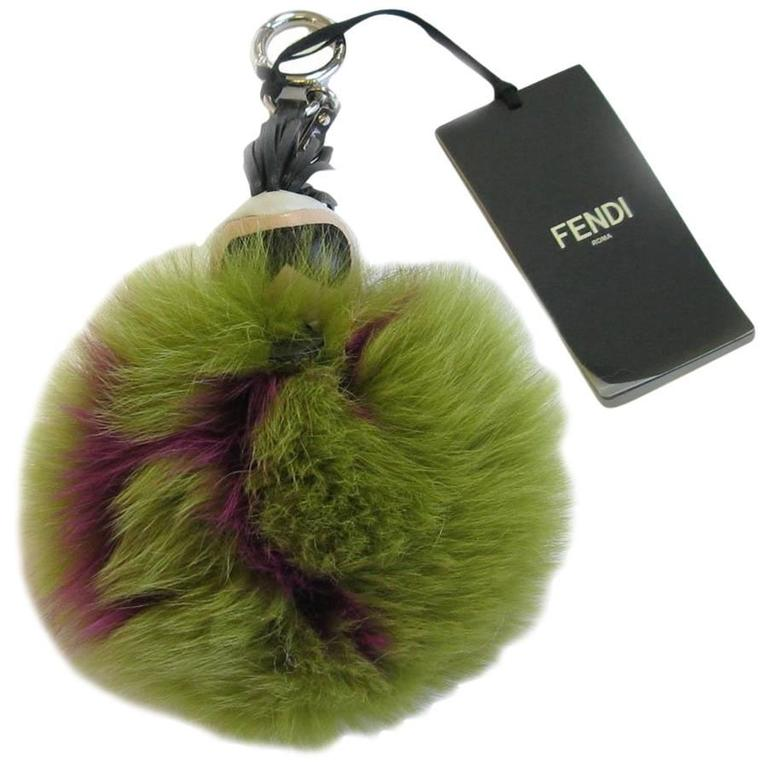 FENDI Bag Jewel Model 'Karl' in Bicolor Fuchsia and Green Fur
