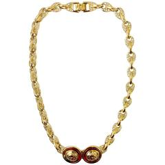 Gianni Versace 1990s gold double medusa head necklace with rhinestones