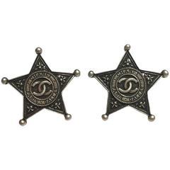 "CHANEL ""Paris-Dallas"" Stud Earrings in Silver Plated Metal"