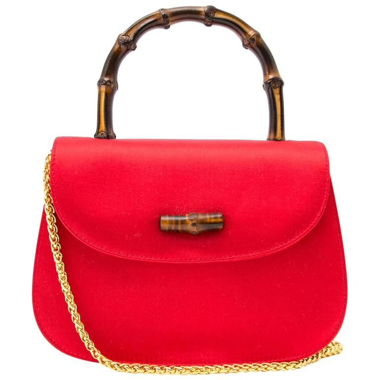 1586e050 Vintage Gucci Satin XXS Red Mini Bag with Bamboo Handle & Gold Chain