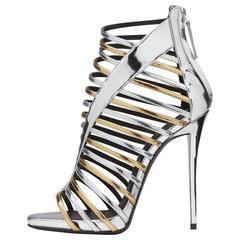 Giuseppe Zanotti New Gold Silver Patent Gladiator Evening Sandals Heels in Box