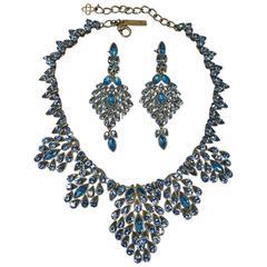Vintage Oscar De La Renta Peacock Crystal Necklace & Earring Set