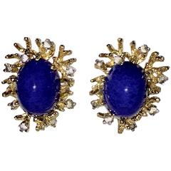 Perfect Panetta Gilt Glass Lapis Lazuli and Crystal Clip On Earrings