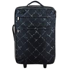 Chanel Black White Canvas Graphic Diamond Print Travel Rolling Suitcase Bag