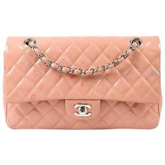 """Chanel Pink Patent Quilted """"Medium Double Flap"""" Shoulder Bag"""