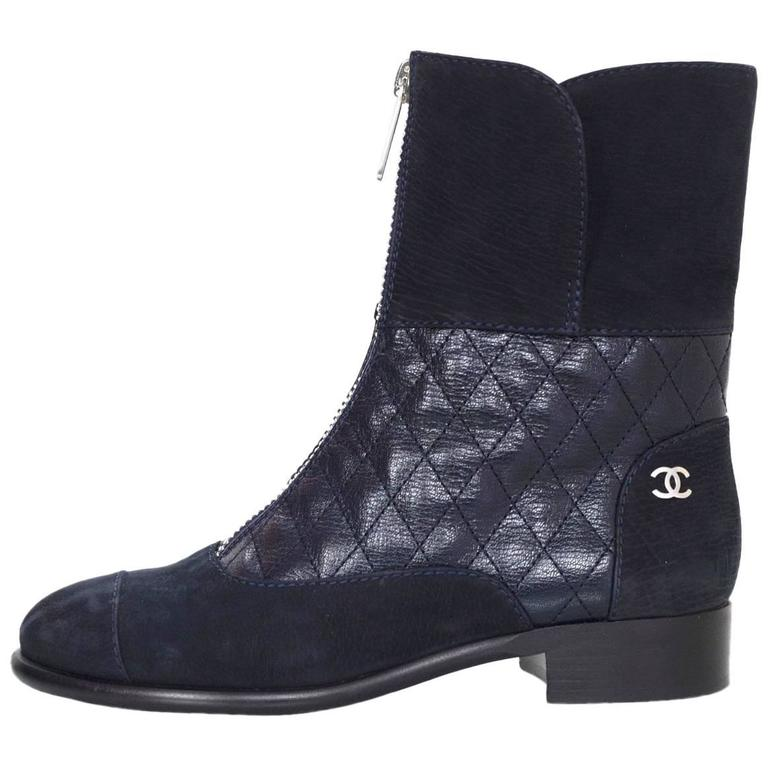 Chanel Navy Suede & Quilted Leather Zip Front Boots sz 37 1