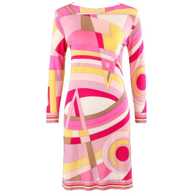 EMILIO PUCCI c.1968 Pink Multicolor Op Art Signature Print Silk Shift Dress