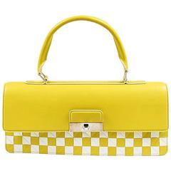 "Louis Vuitton ""Mosaic Envelope"" Yellow & White Leather Damier Bag"