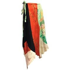 1970's Vintage Silk Kimono Patchwork Skirt