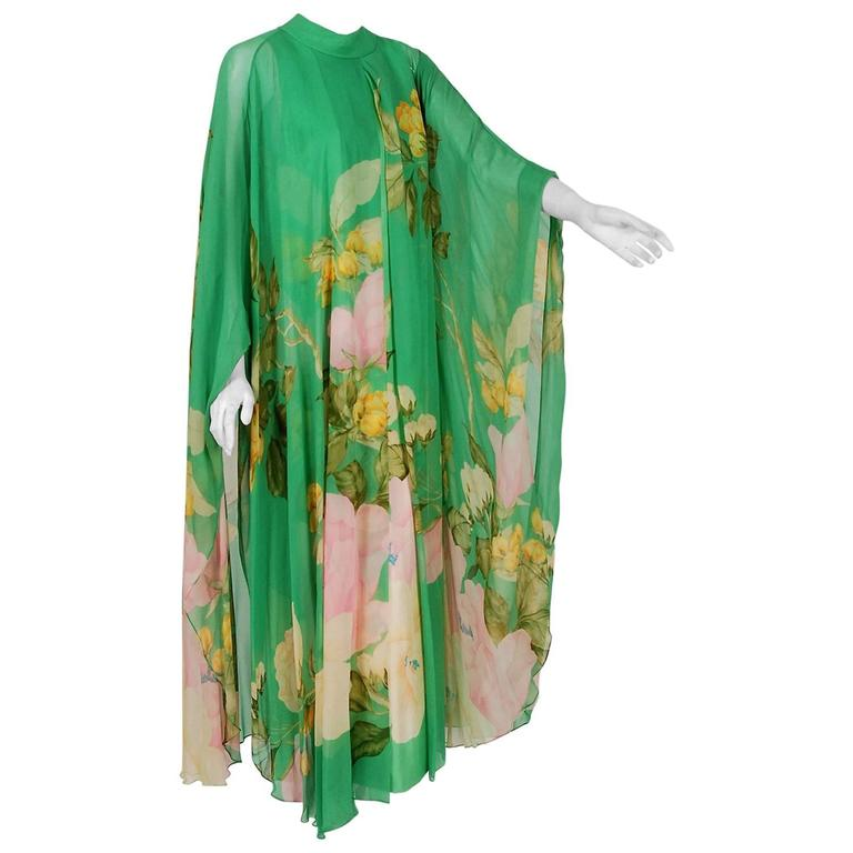 1970's Hanae Mori Couture Green Floral Garden Silk-Chiffon Caftan Dress Gown For Sale