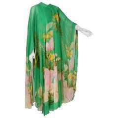 1970's Hanae Mori Couture Green Floral Garden Silk-Chiffon Caftan Dress Gown