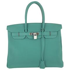 Hermes Birkin 35 In  Rare Malachite Togo Leather Palladium Hardware 2017