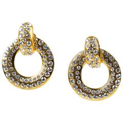 VINTAGE Chanel Gold Tone Crystal Accented Clip On Hoop Earrings
