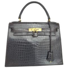 Hermes Dark Brown Shiny Crocodile Kelly 28 cm With Gold Hardware
