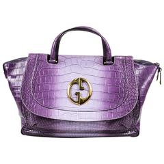 "Gucci Purple Crocodile Belly Gold Tone 'GG' ""1973"" Double Handle Bag"