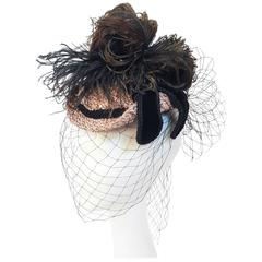1940s Veiled Hat w/ Feather Embellishment