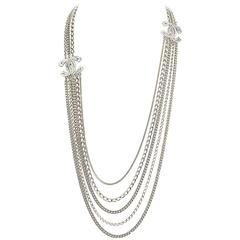 Chanel 2016 Multi-Strand Chain Link & Crystal CC Necklace