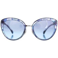 Chanel NEW '17 Blue Gradient Butterfly Fall Sunglasses
