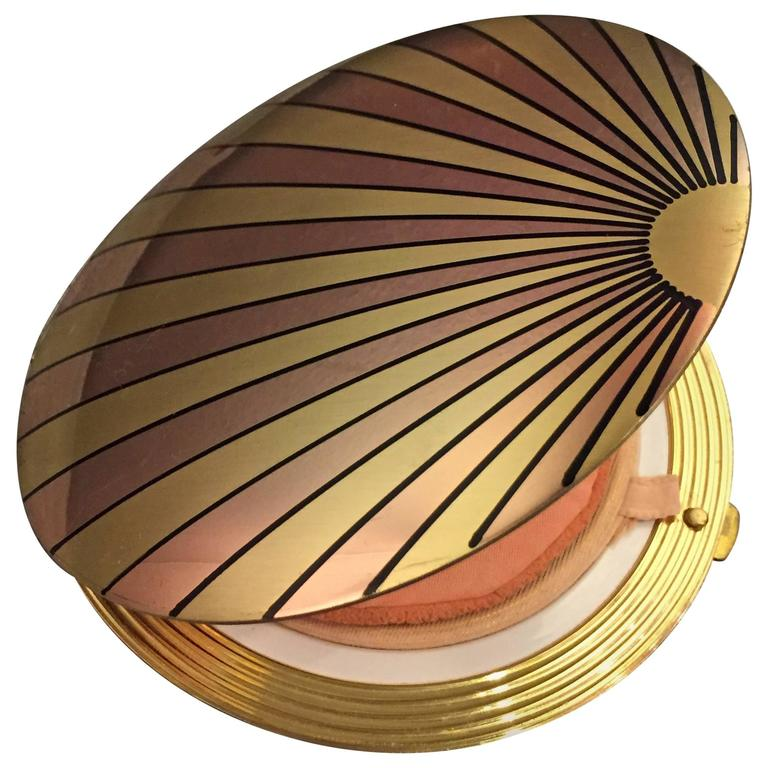 1940's Art Deco Inspired Rose Gold & Brass Sun Ray Motif Compact  For Sale