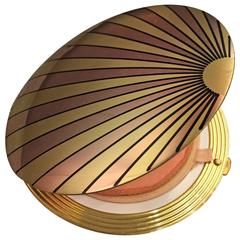 1940's Art Deco Inspired Rose Gold & Brass Sun Ray Motif Compact