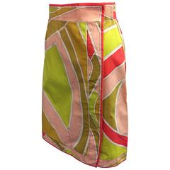 1960's Pucci Printed Cotton A-Line Side-Snap Mini Skirt
