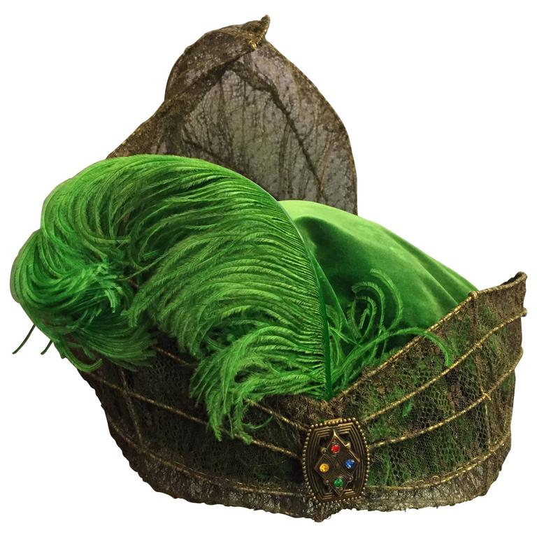 """""""Majestic"""" Edwardian Couture Constructed Gold Lame Lace & Green Velvet Hat"""