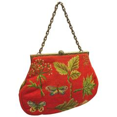 1950's Scarlet Red Maud Hundley Needlepoint Purse with Butterflies