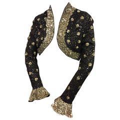 Escada Black Beaded & Sequined Bolero with Ruffled Cuffs