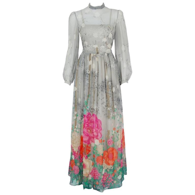 1970's Hanae Mori Couture Grey Floral Silk Chiffon Billow-Sleeve Illusion Gown