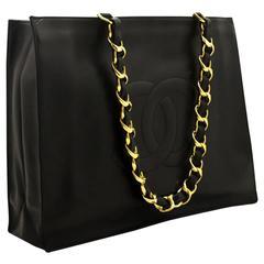 CHANEL Jumbo Large Big Chain Shoulder Bag Black Lambskin Tote