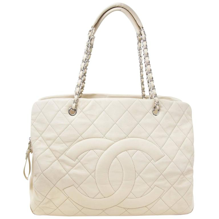 Chanel Beige Leather Grand Shopping Tote For Sale