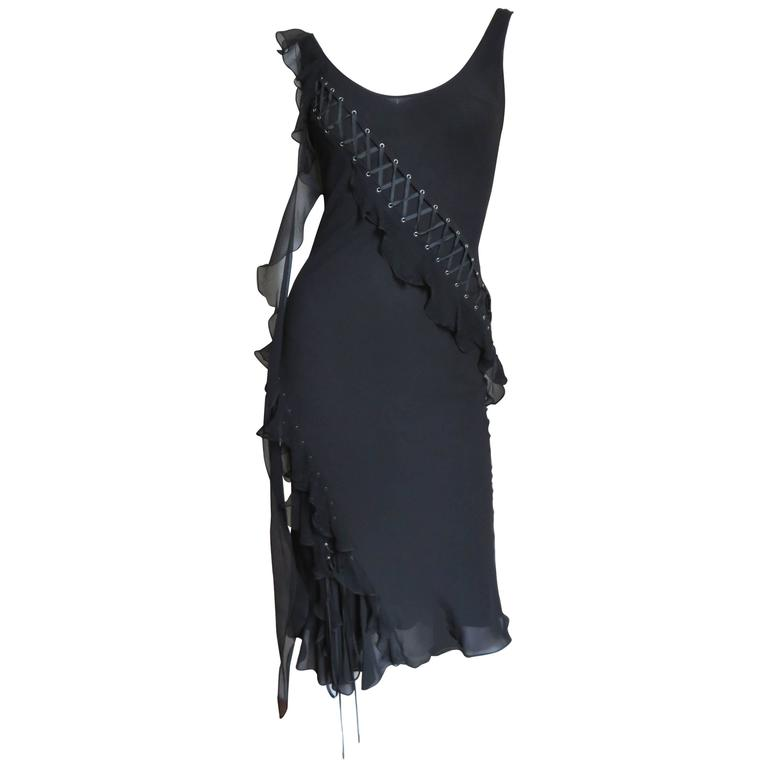 John Galliano for Chrisitian Dior Vintage Laceup Silk Dress For Sale