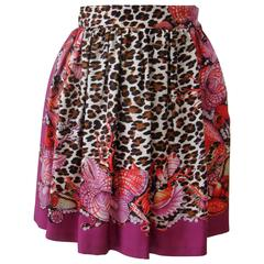 Gianni Versace Couture Animal Seashell Printed Silk Pleated Mini Skirt