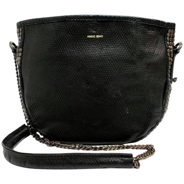 Anine Bing Black Leather Studded Crossbody Bag For