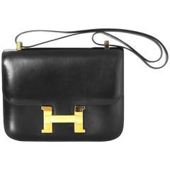 Hermes Vintage Black Box Leather Constance H 23cm Bag