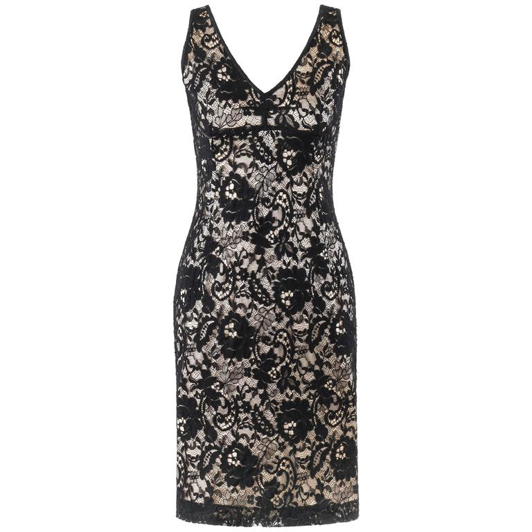 DOLCE & GABBANA A/W 2011 Black Floral Lace Overlay Cocktail Dress
